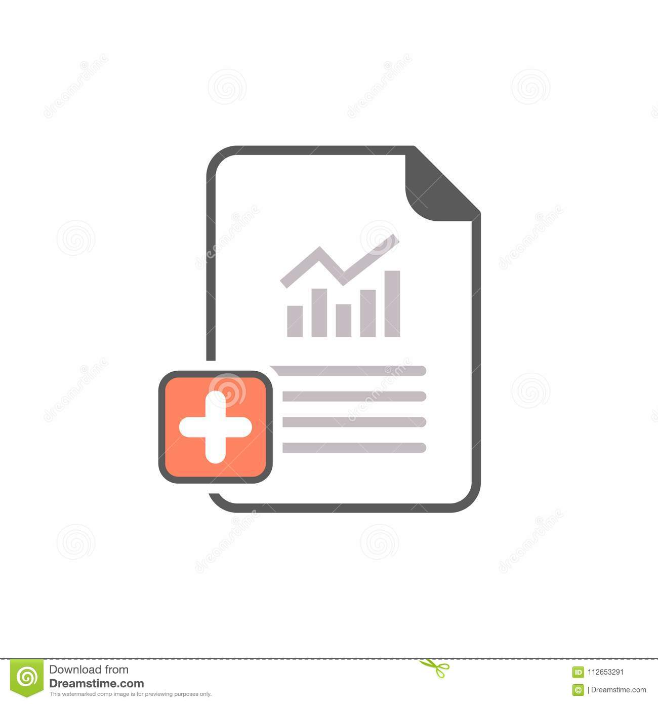 Report Icon With Add Sign Report Icon And New Plus Positive