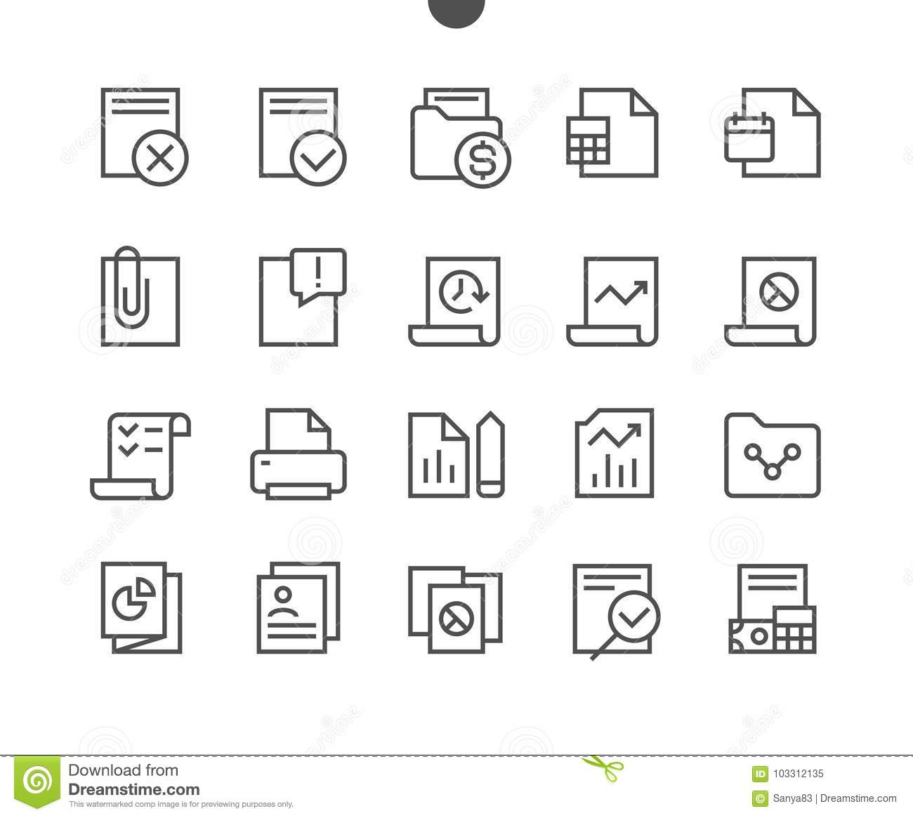 Report UI Pixel Perfect Well-crafted Vector Thin Line Icons 48x48
