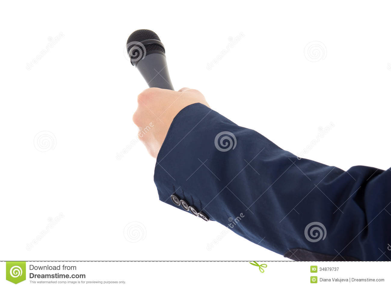 Reporter s hand holding a microphone isolated over white