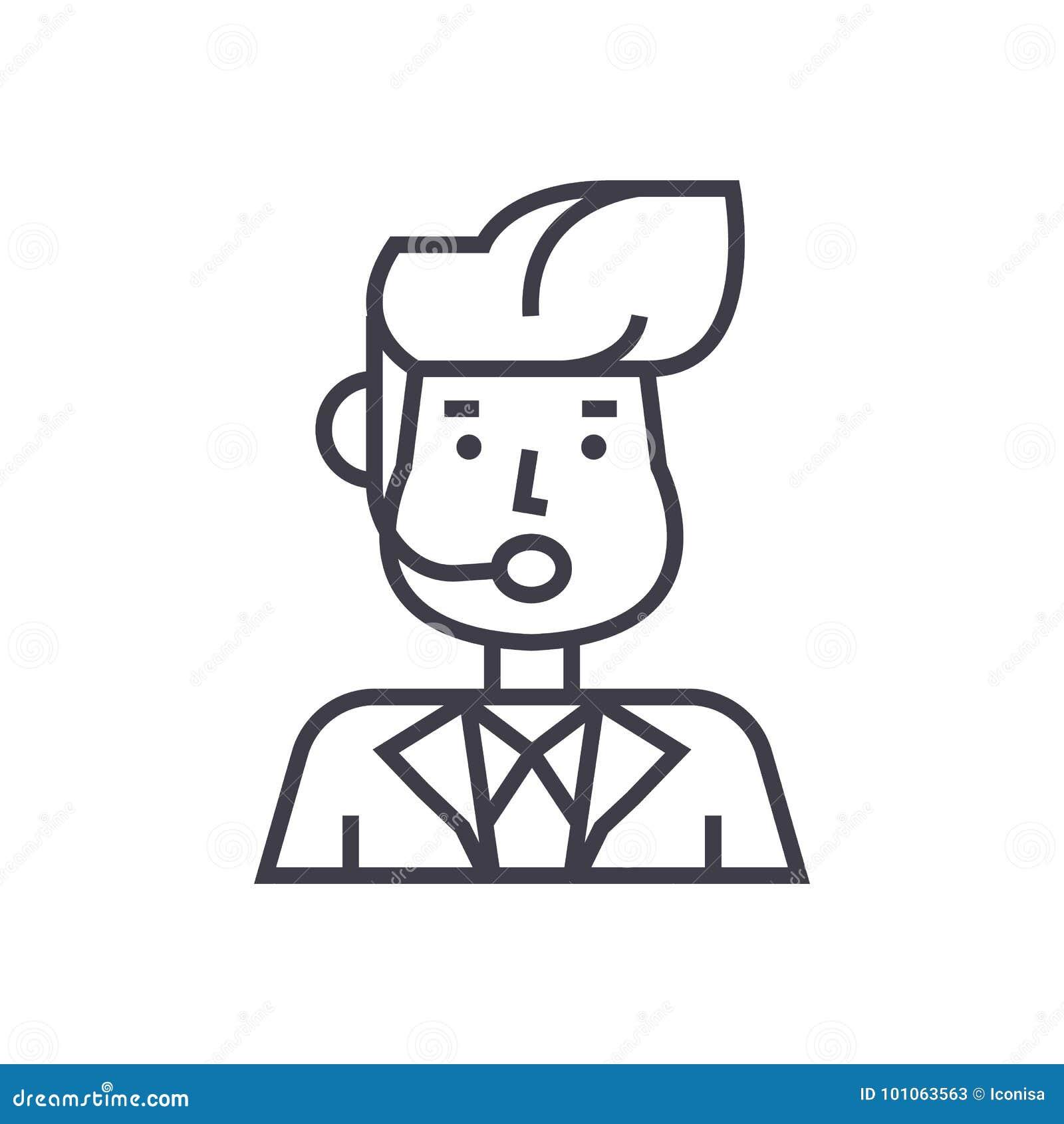 Reportera mężczyzna, wiadomość wektoru linii nadawcza ikona, znak, ilustracja na tle, editable uderzenia