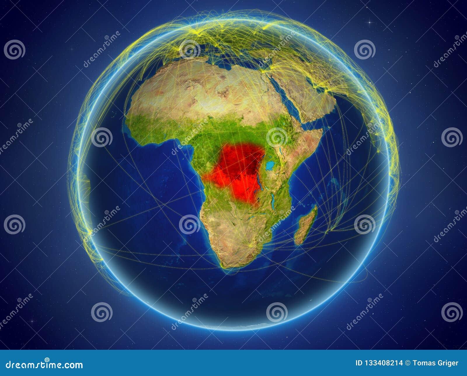 Représentant de DEM du Congo sur terre avec des réseaux