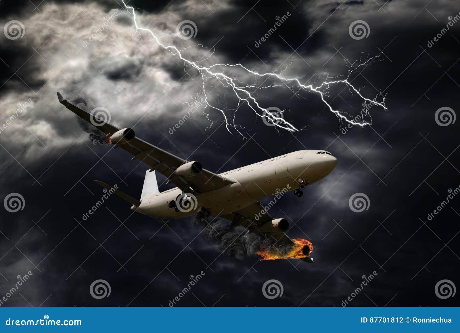 Représentation cinématographique d avion avec le feu de moteur