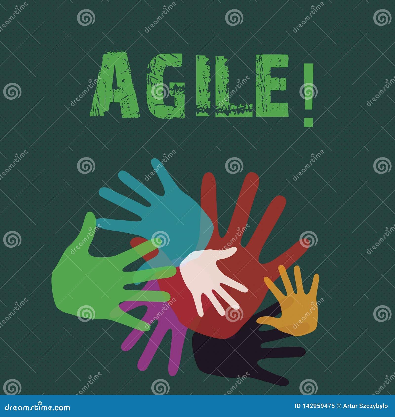 Représentation conceptuelle d écriture de main agile La présentation de photo d affaires développent une agilité vers la main d é