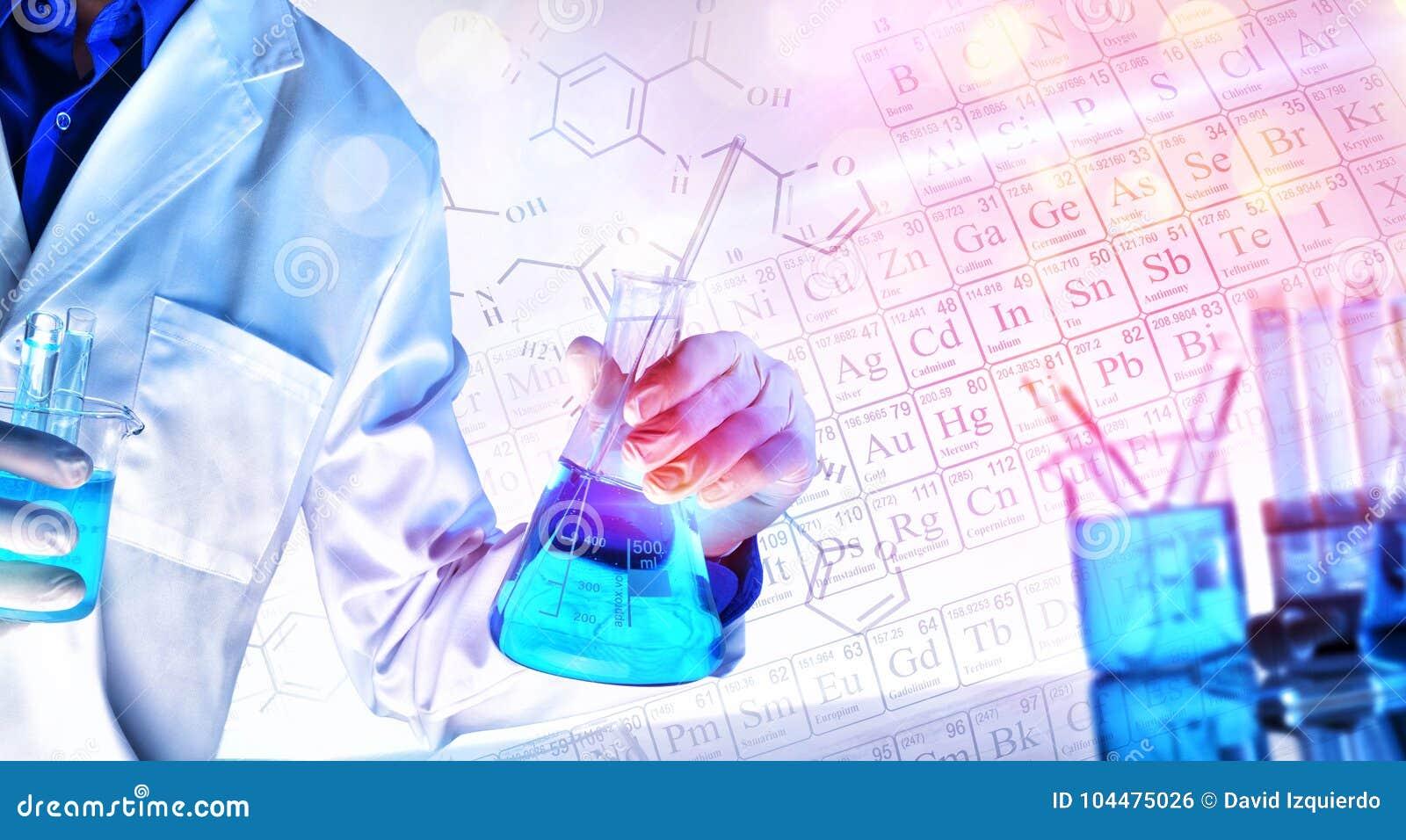 Representação das ciências químicas que ensinam o conceito com luzes