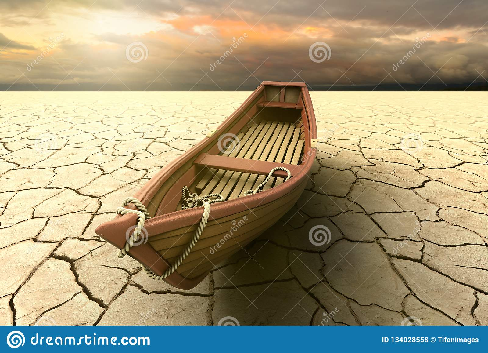 Representación conceptual de una sequía con un barco en un lago seco