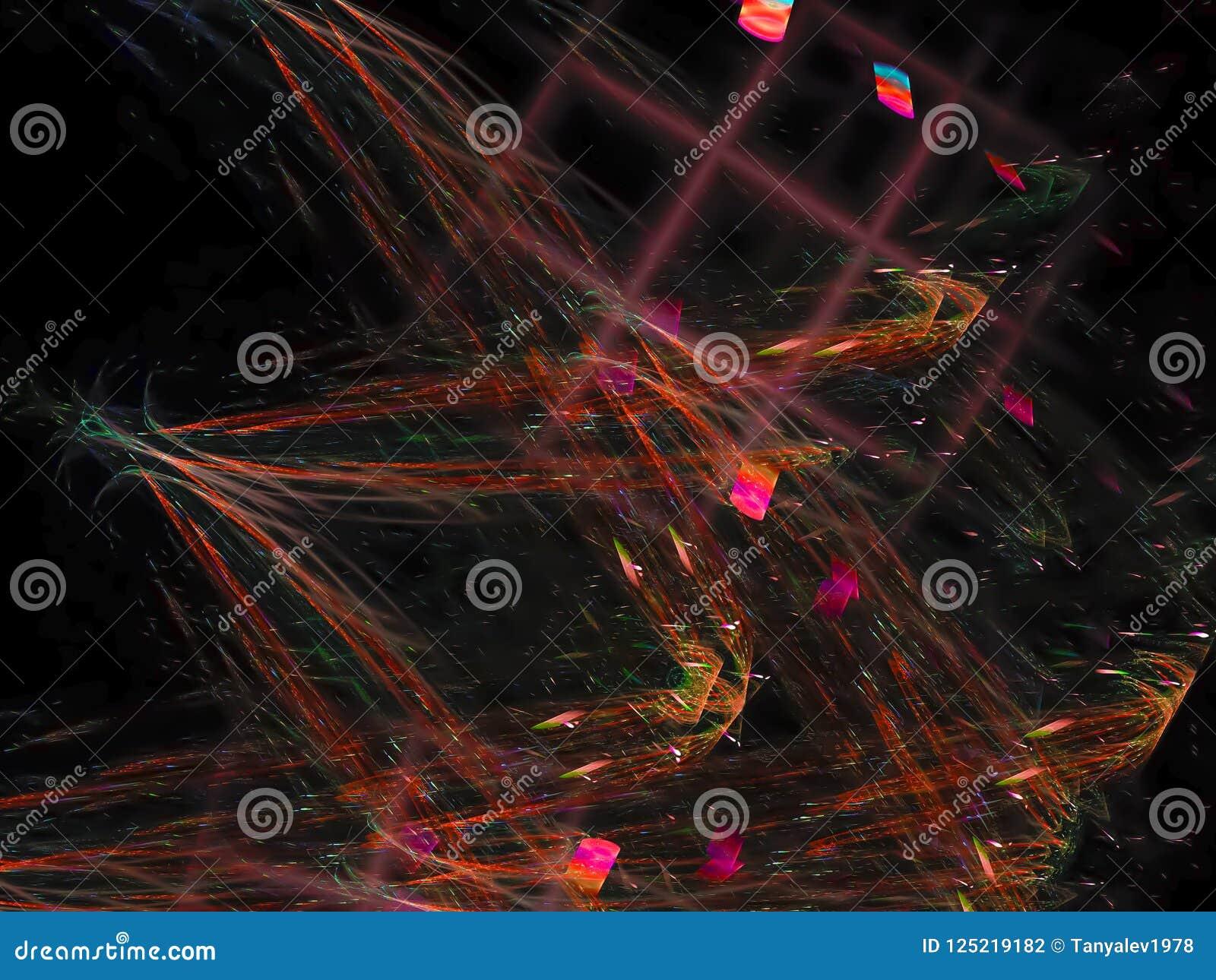 Representación creativa generada dreamlike vibrante, plantilla del día de fiesta fino de la tarjeta del fractal abstracto del dis