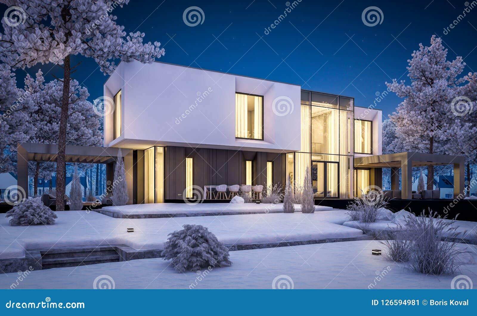 Representación 3d de la casa moderna con el jardín en noche del invierno