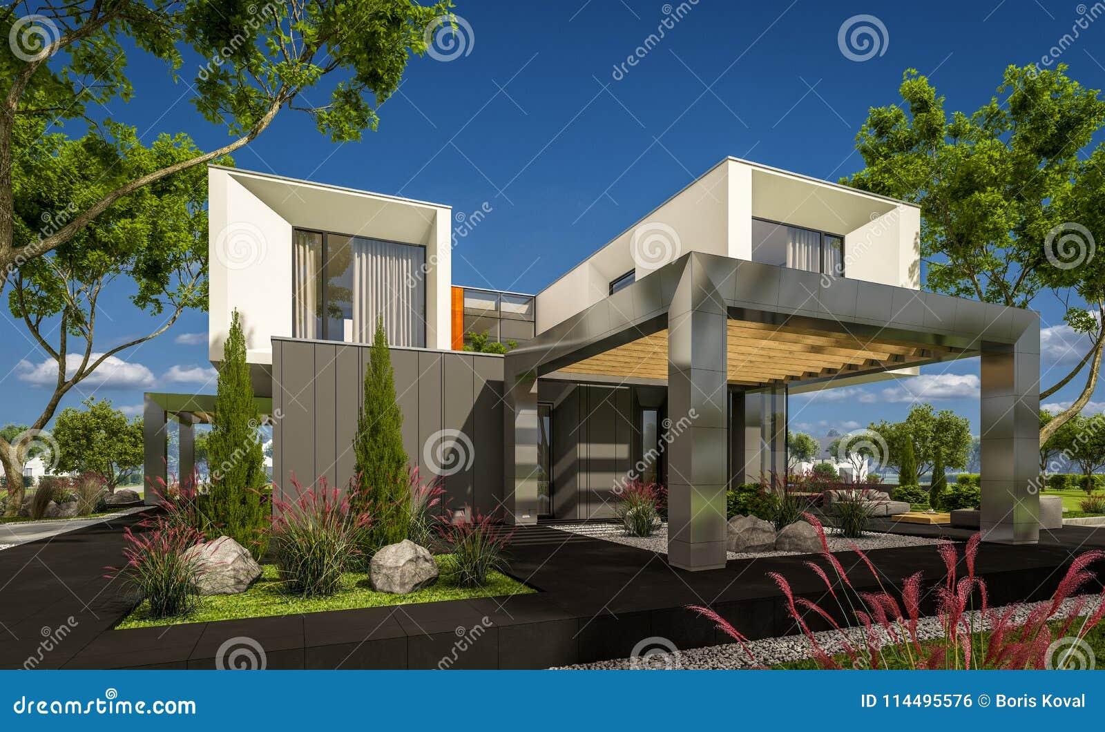 Representaci n 3d de la casa moderna en el jard n stock de for Casa moderna jardin d el menzah