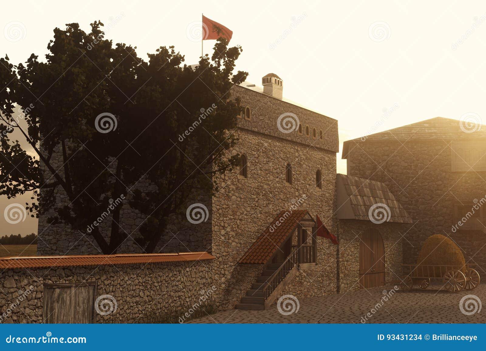 Representación 3d de la casa tradicional de la torre de Kulla del albanés en el ev