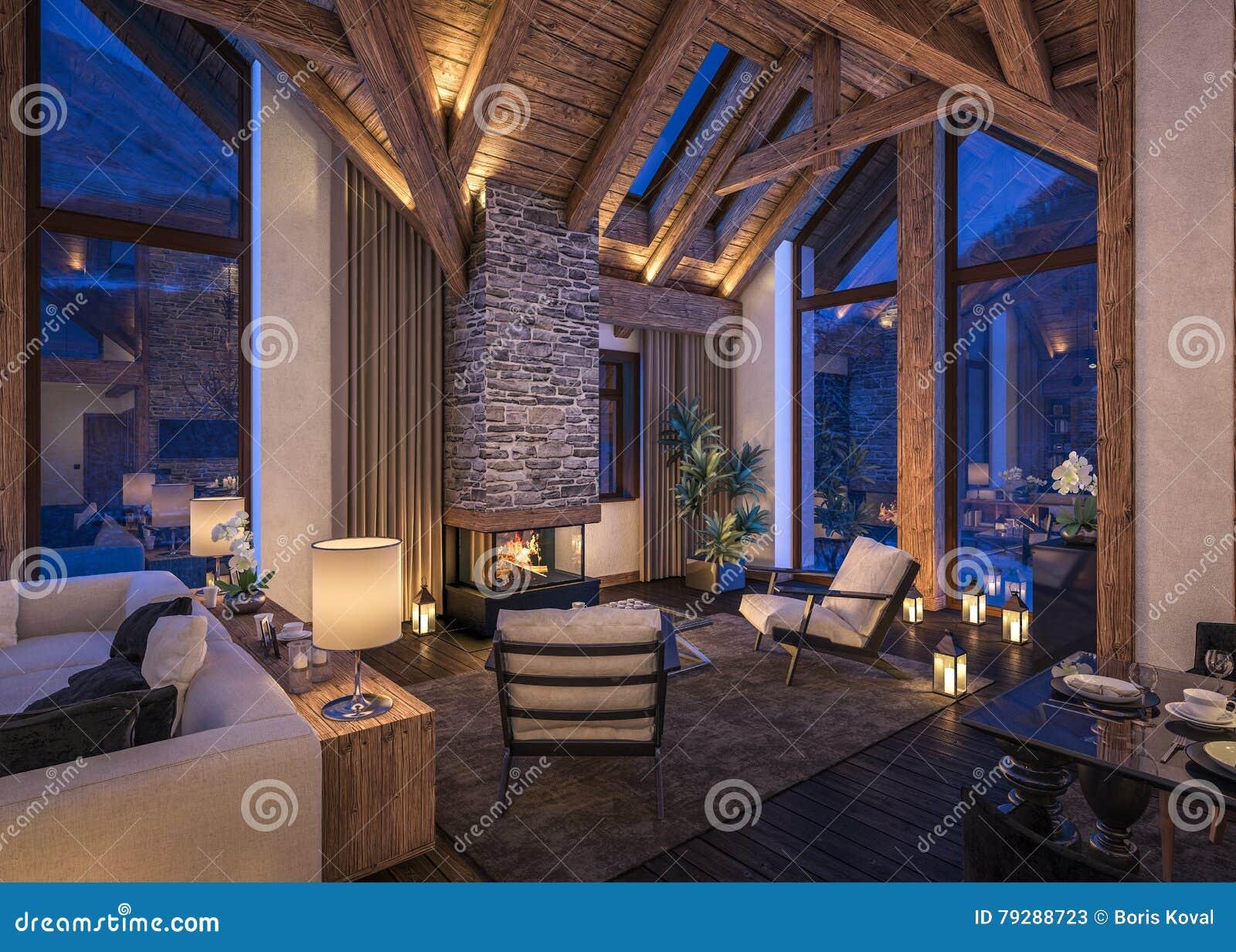 Representación 3D de la sala de estar de la tarde del chalet