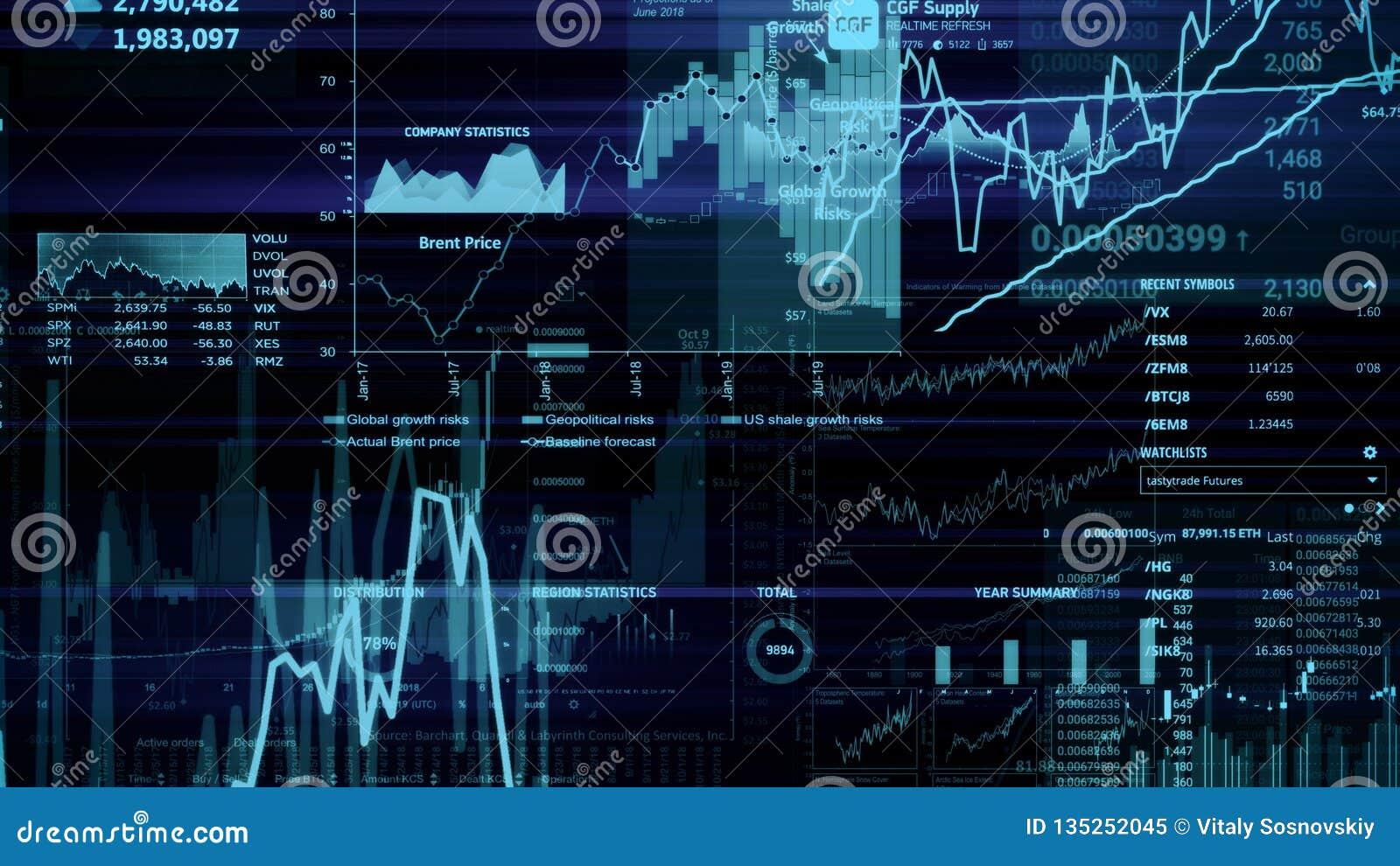 Representación 3D de los índices de existencias en espacio virtual Desarrollo económico, recesión