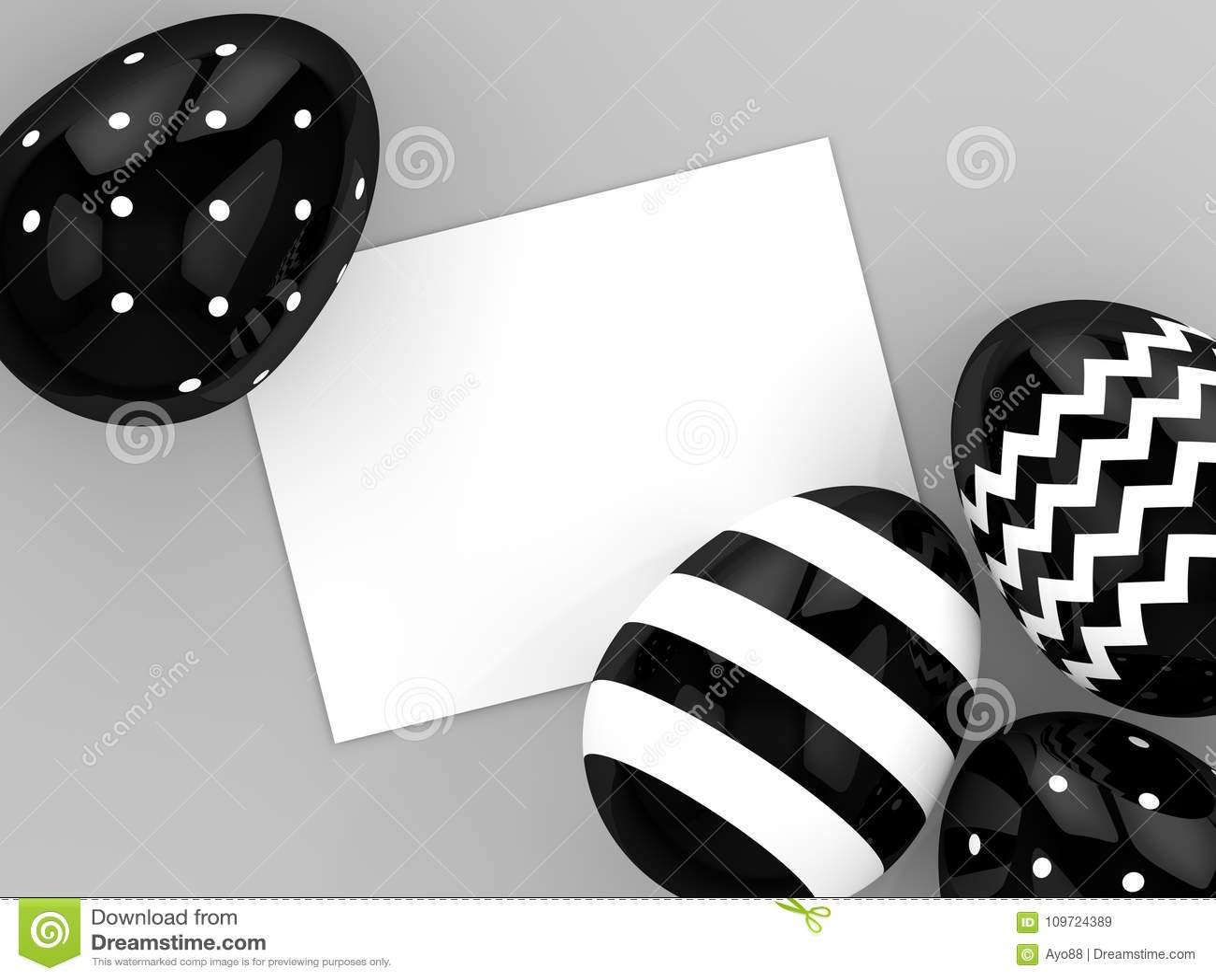 Representación 3d de los huevos de Pascua con la tarjeta en blanco