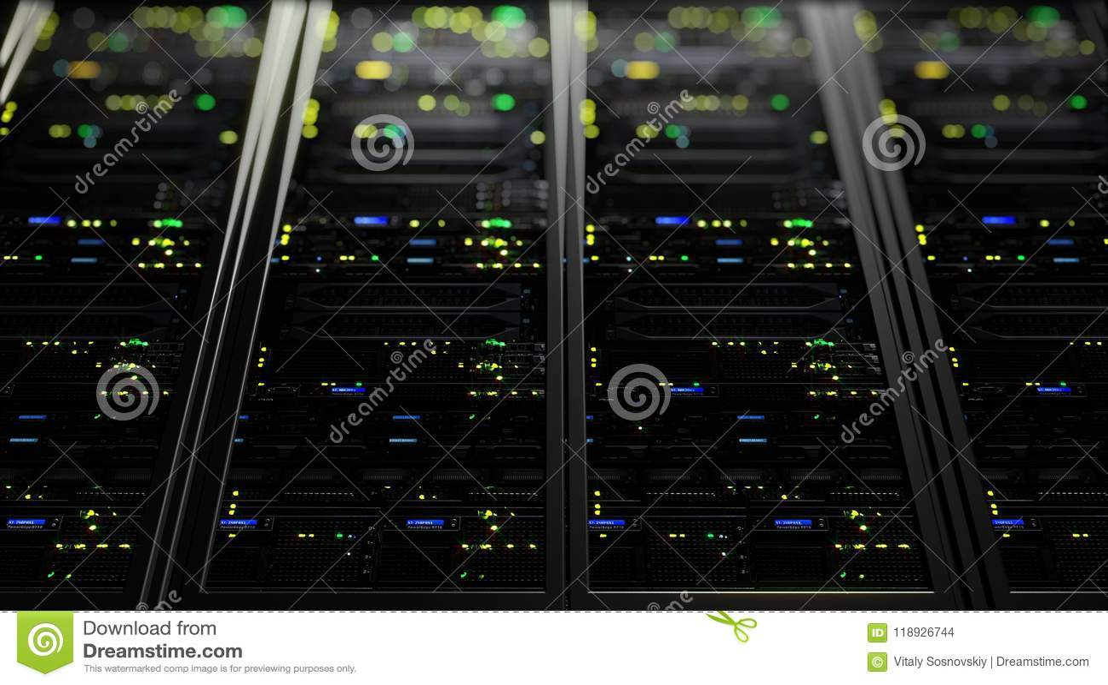 Representación 3D de los servidores de datos con el LED que destella Animación cíclica de los servidores de datos