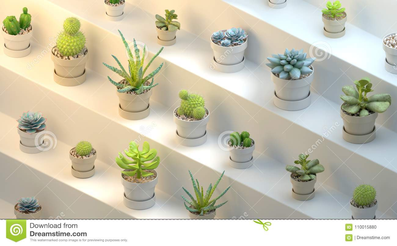 Representación 3d de muchos potes con los succulents en el fondo abstracto blanco