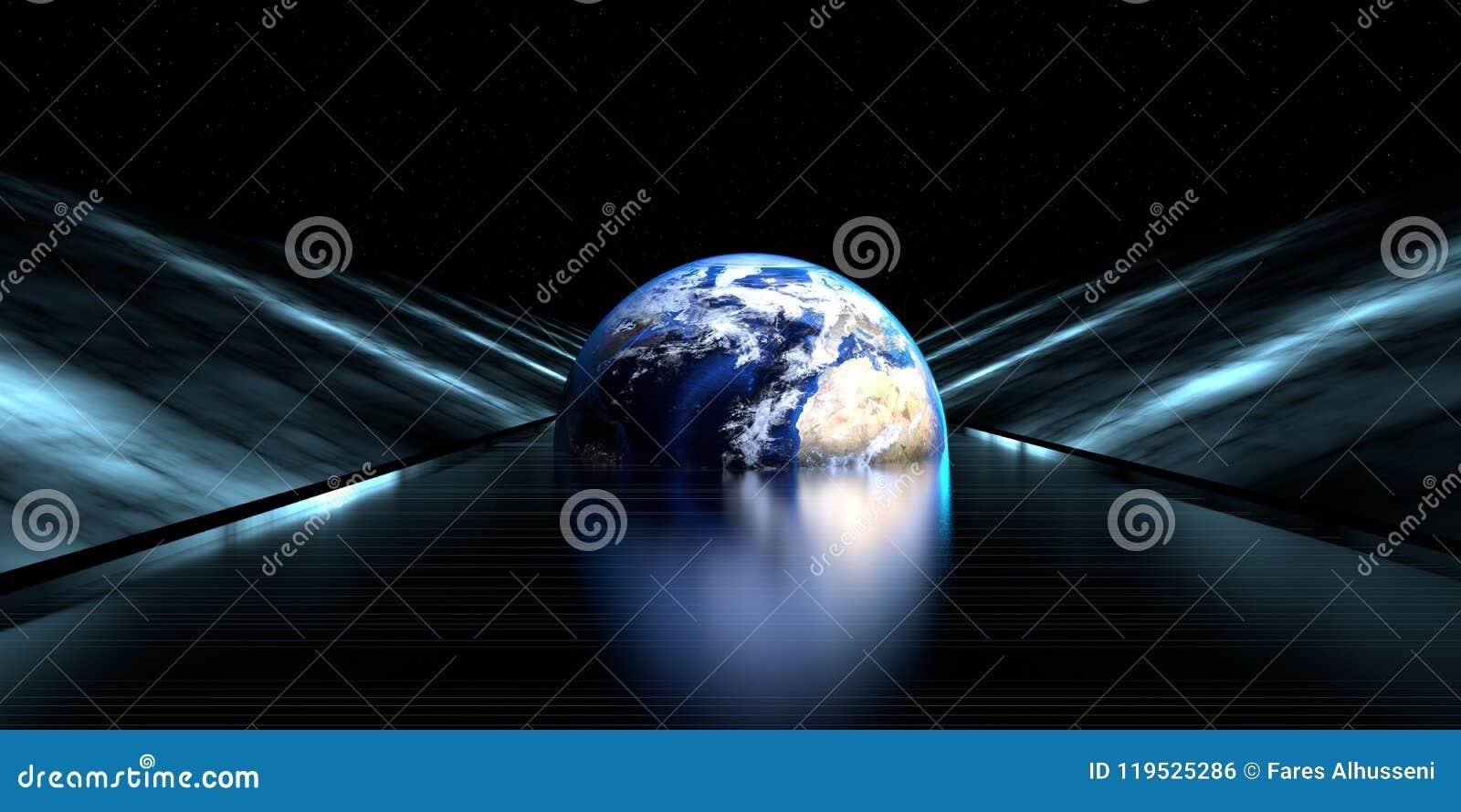 Representación d de un camino futurista con la esfera de la