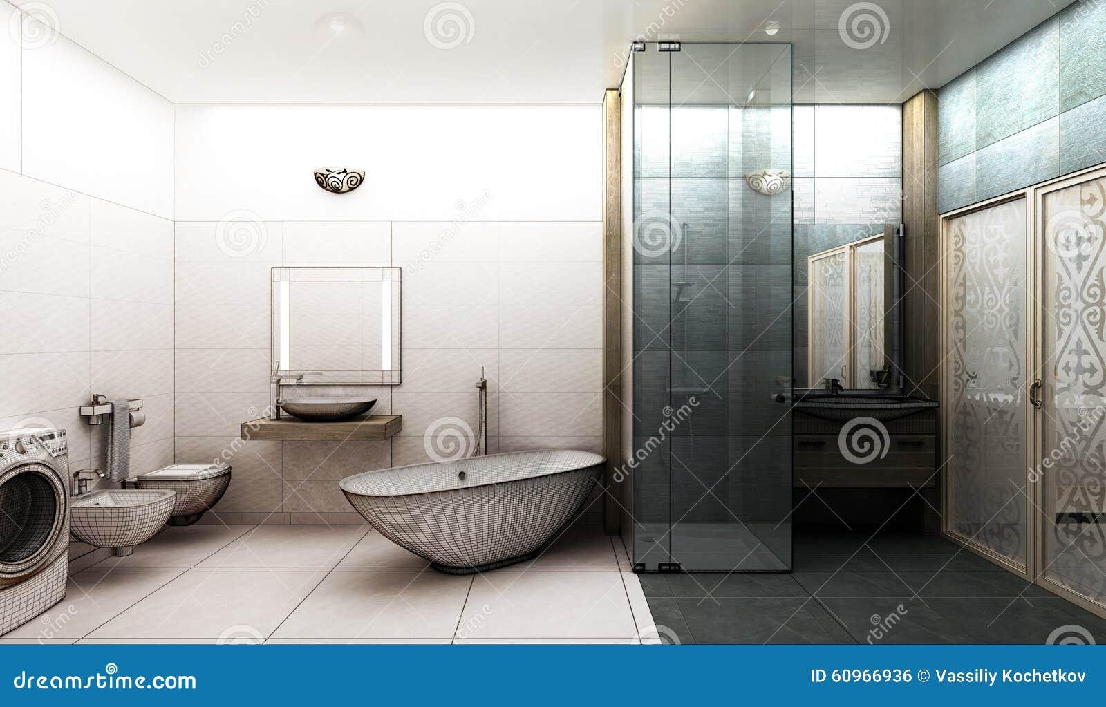 Representación 3D De Un Diseño Interior Del Cuarto De Baño Moderno ...