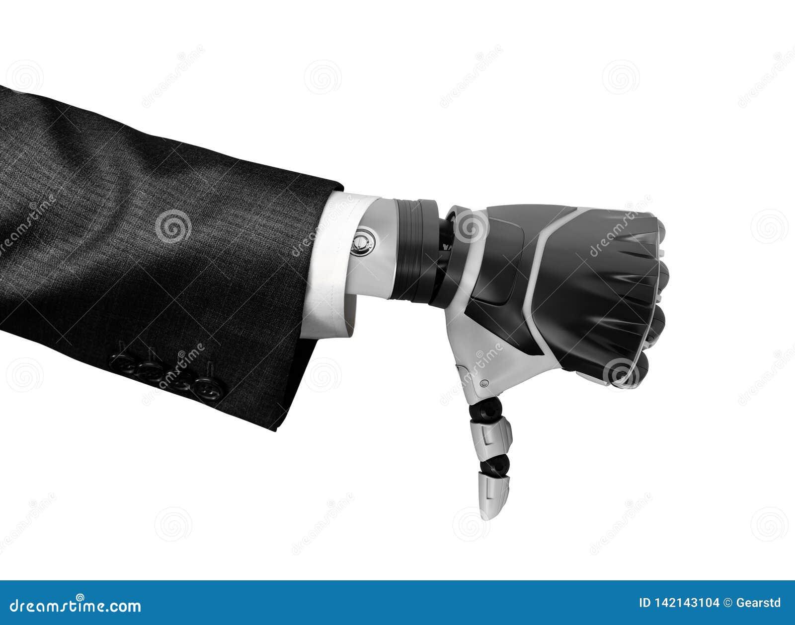 Representación 3d de una mano robótica en el pulgar de la demostración del traje de negocios abajo aislado en el fondo blanco