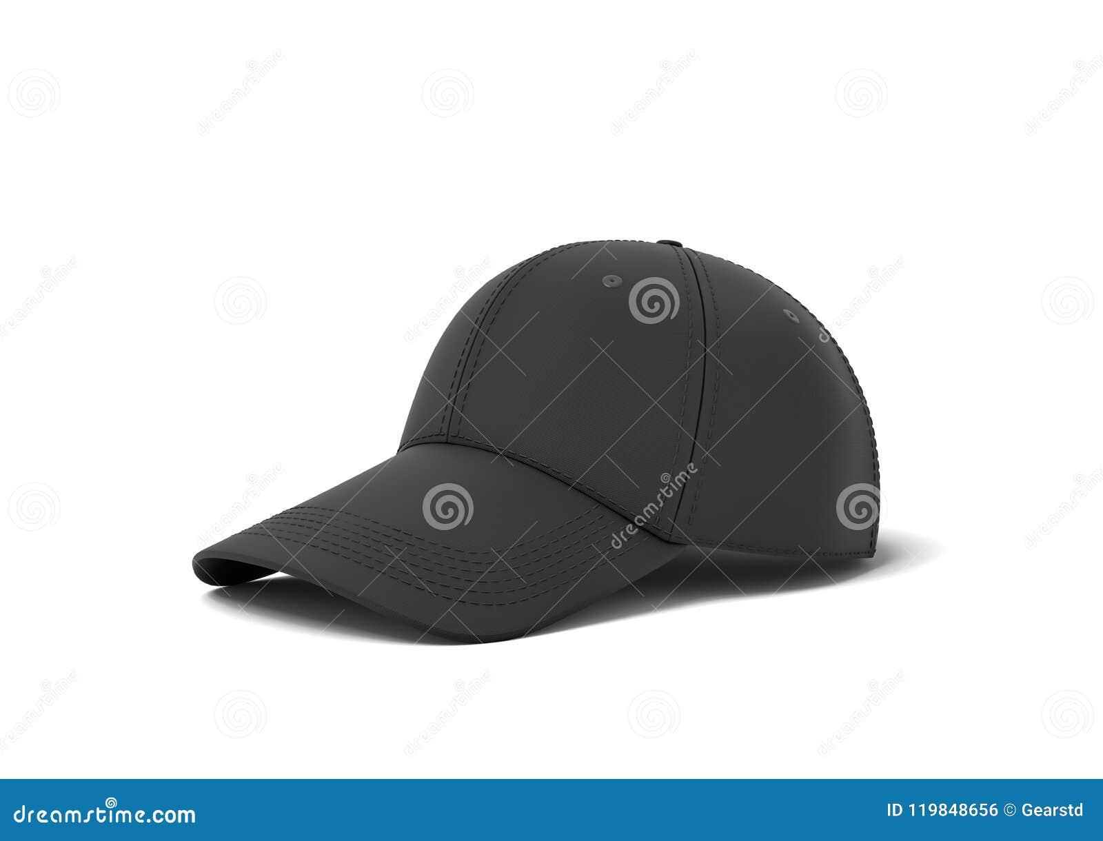 Representación 3d de una sola gorra de béisbol negra con la mentira de  costura del negro en un fondo blanco Desgaste del deporte profesional  Headwear casual ... f09f449ba2d