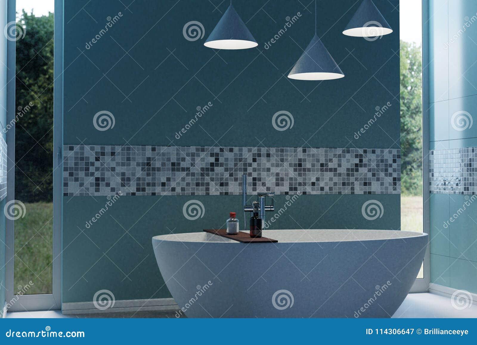 Representación 3d Del Cuarto De Baño Moderno Ciánico Con La Bañera ...
