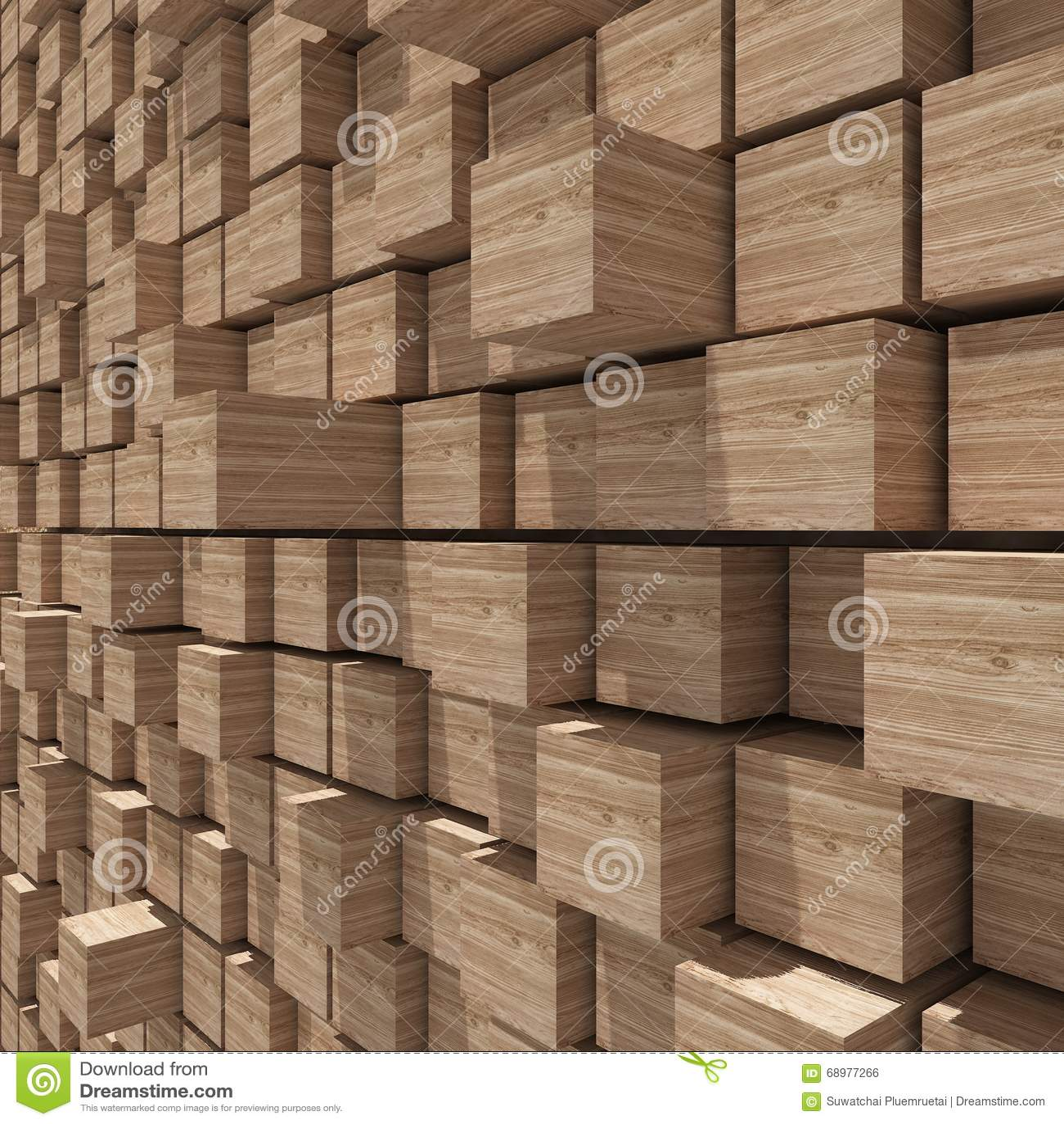 Representación 3d del fondo llano al azar cúbico de madera