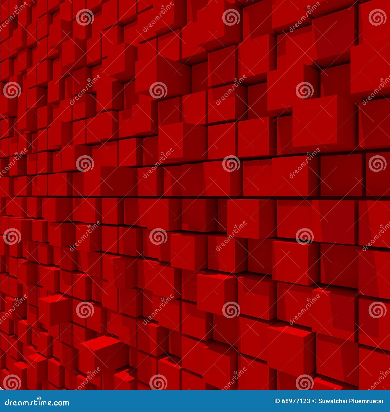 Representación 3d del fondo llano al azar cúbico rojo