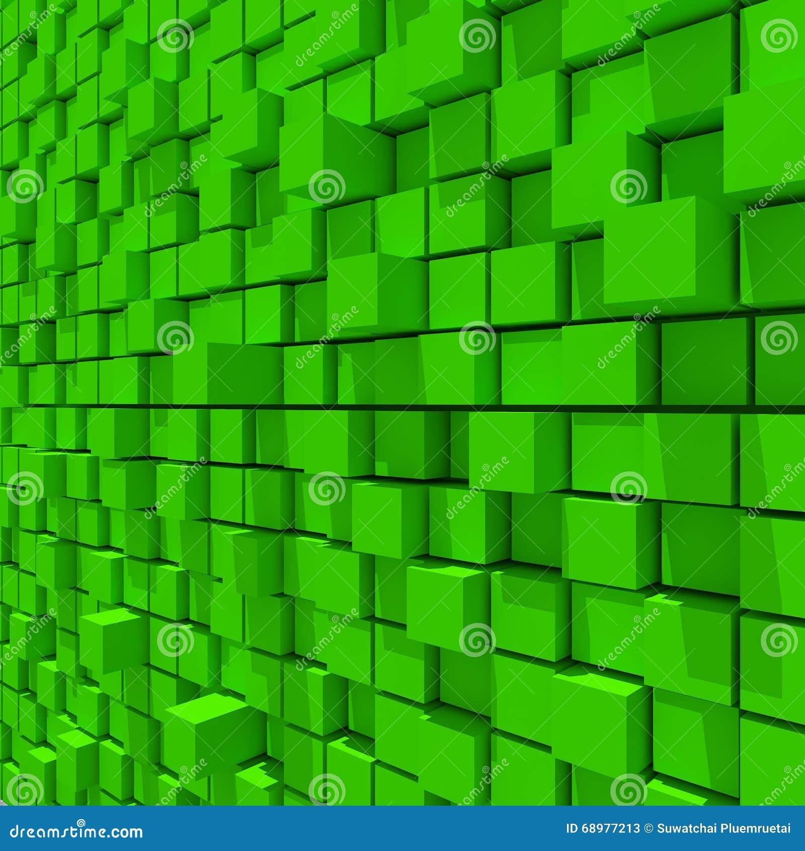 Representación 3d del fondo llano al azar cúbico verde