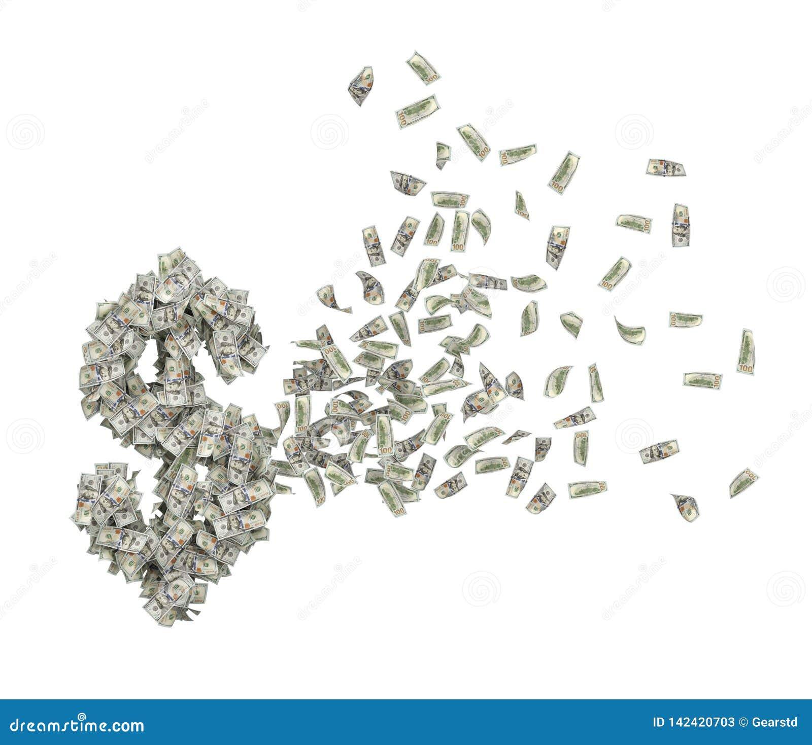 Representación 3d del montón de los dólares en el aire que cambia en forma del símbolo grande del dólar aislados en el fondo blan