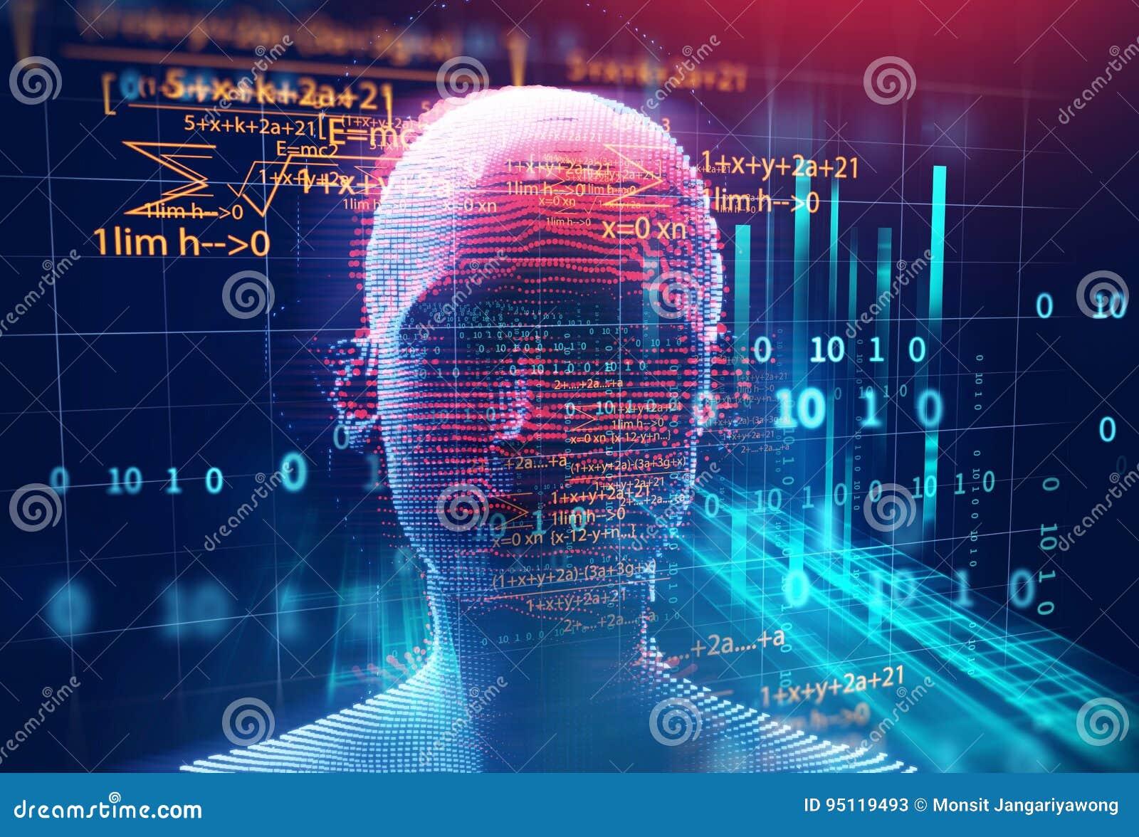 Representación 3d del ser humano en backgroun geométrico de la tecnología del elemento