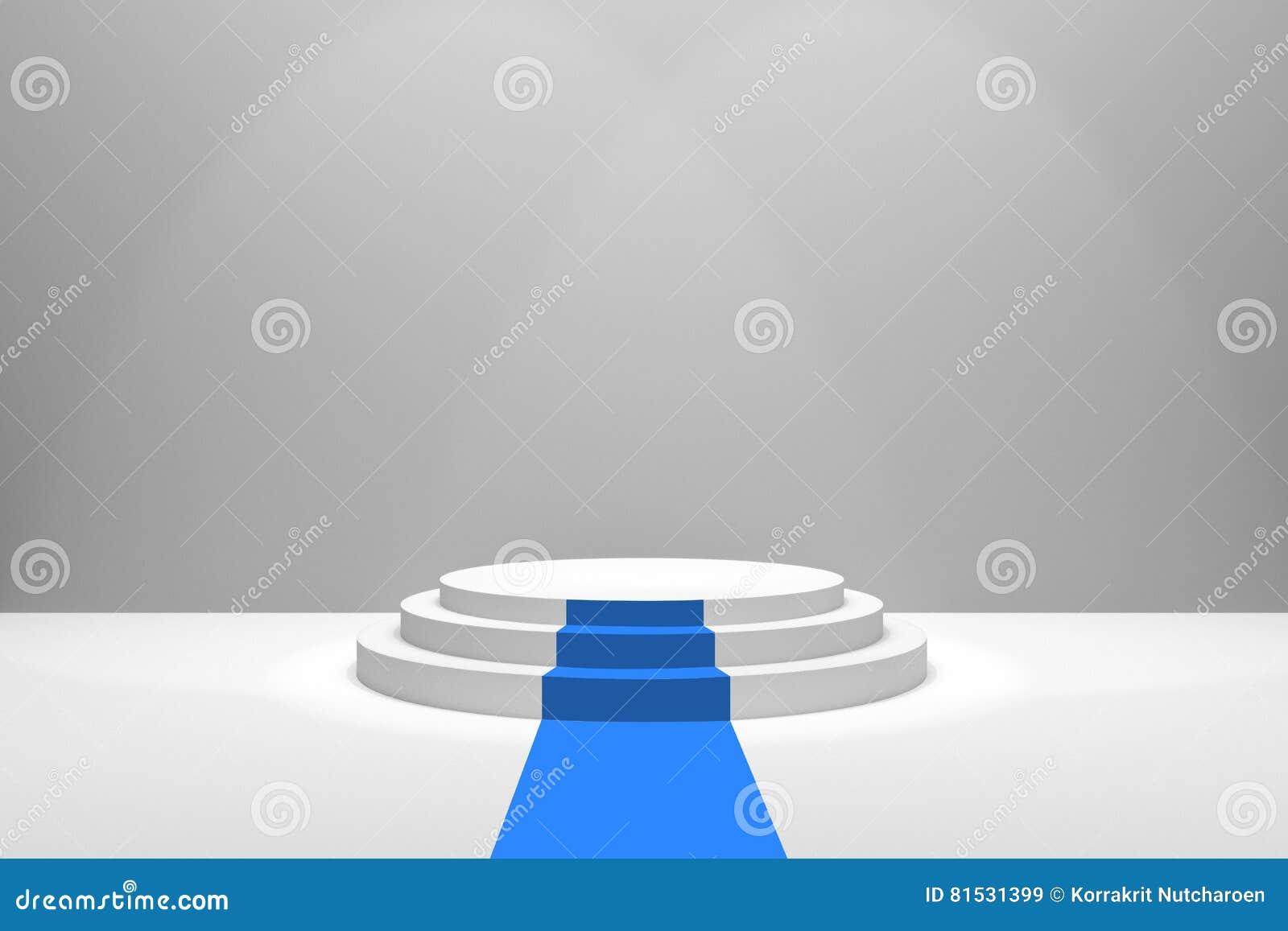 Representación 3D: ejemplo de la etapa con la alfombra azul para la ceremonia de premios Podio redondo blanco Primer lugar 3 paso
