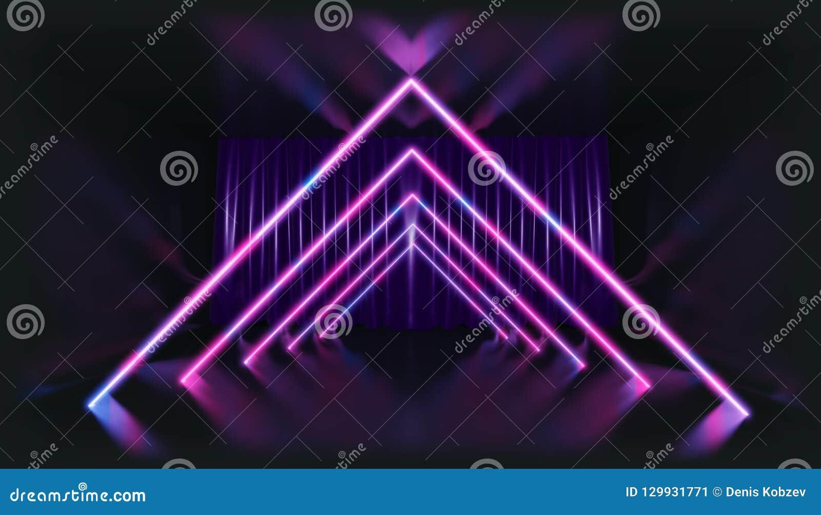 Representación 3d Figura geométrica en la luz de neón contra un túnel oscuro Resplandor del laser
