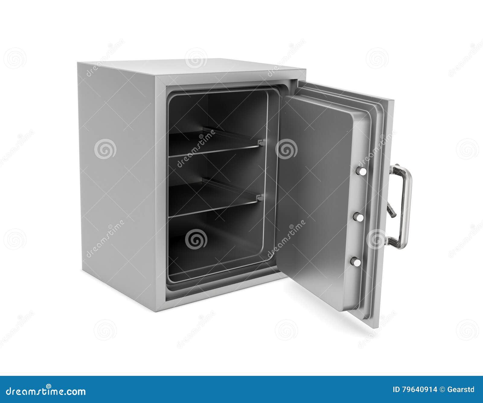 Representación de la caja segura abierta con su puerta rota aislada en el fondo blanco