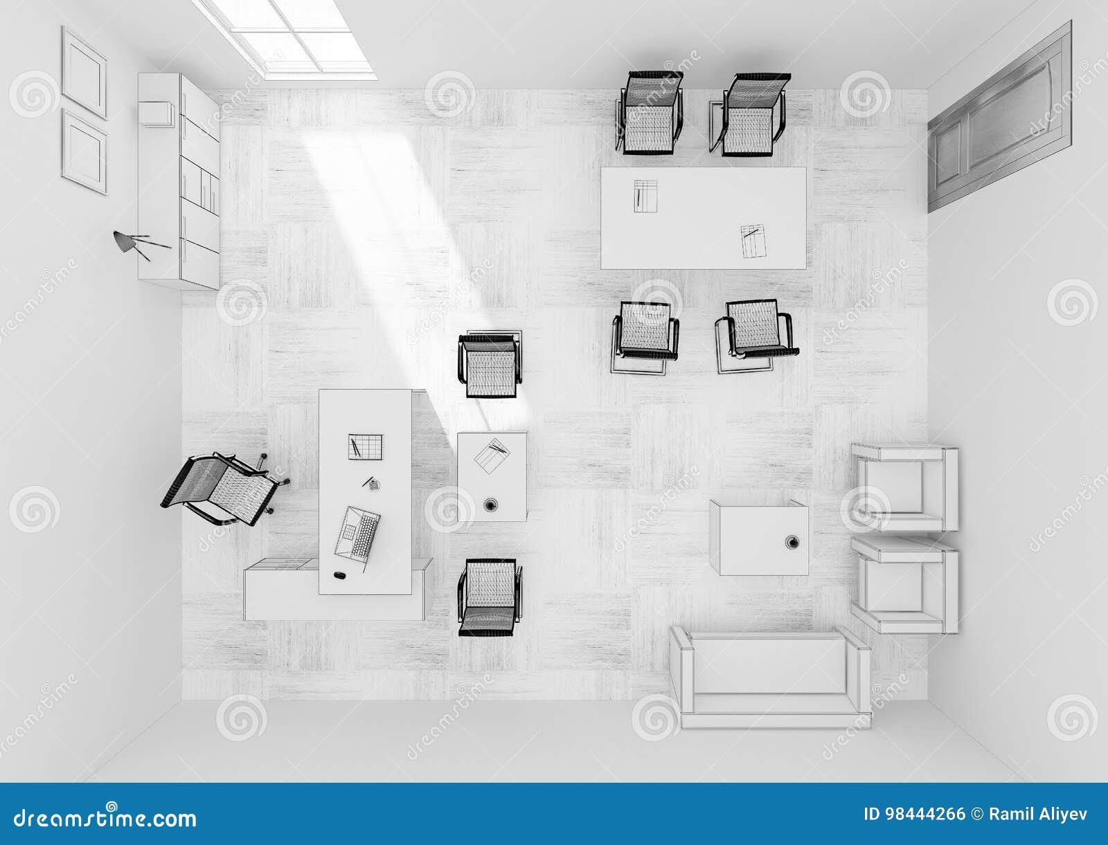 Representaci N De La Rejilla 3d De La Opini N Superior De Los  # Muebles Rejilla