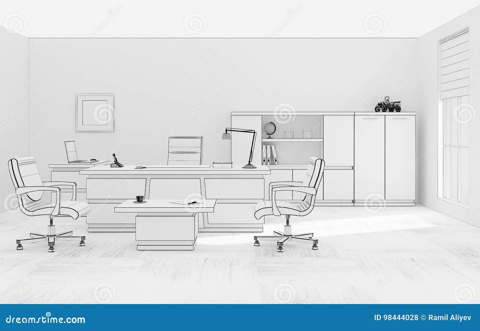 Representaci N De La Rejilla 3d De Los Muebles De Oficinas Del Vip  # Muebles Rejilla
