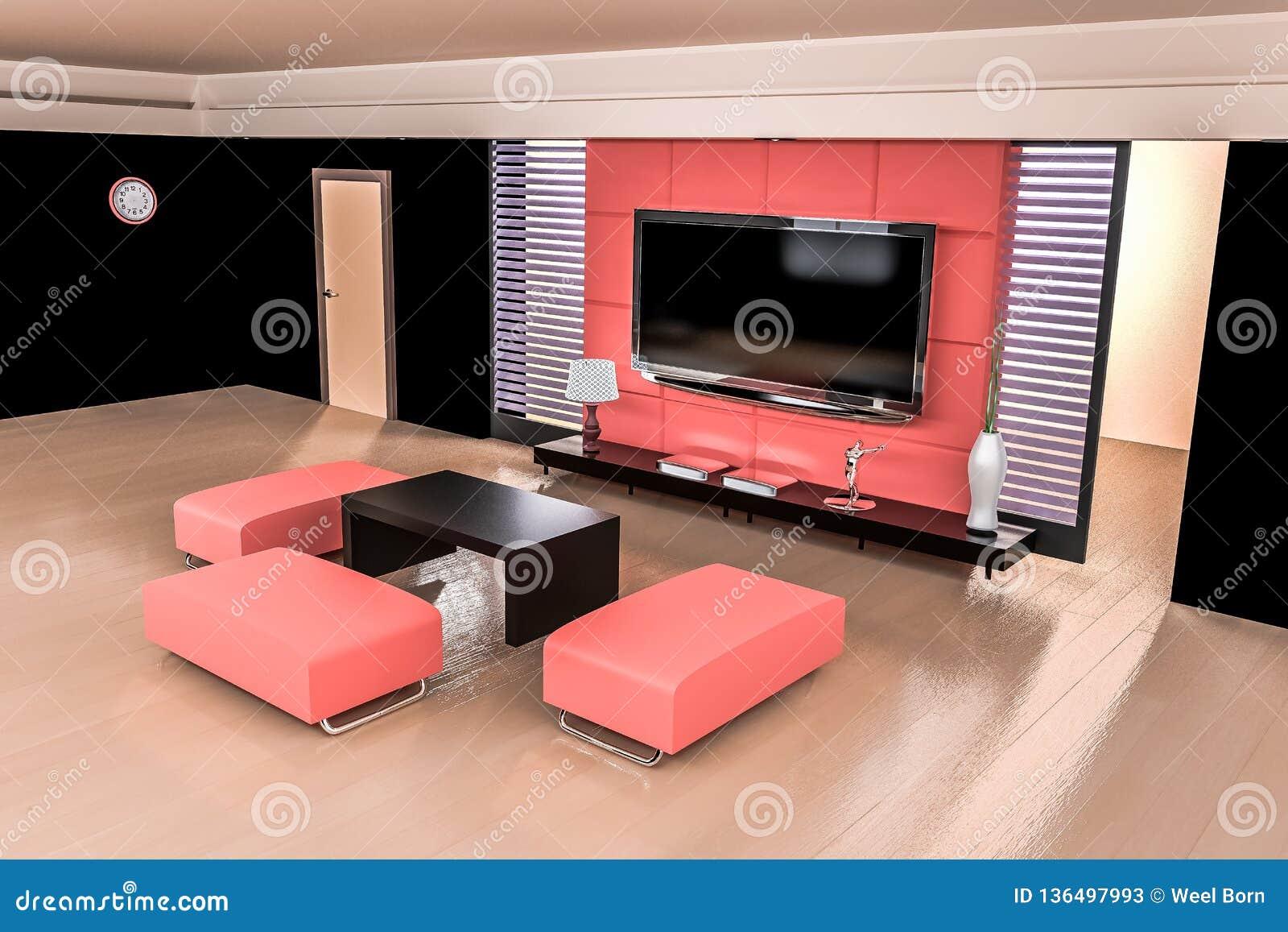 Representación de la sala de estar 3D