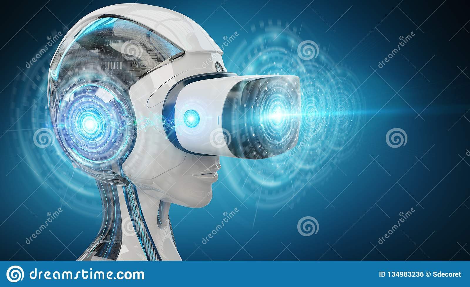 Representación del ejemplo 3D de la realidad virtual y de la inteligencia artificial