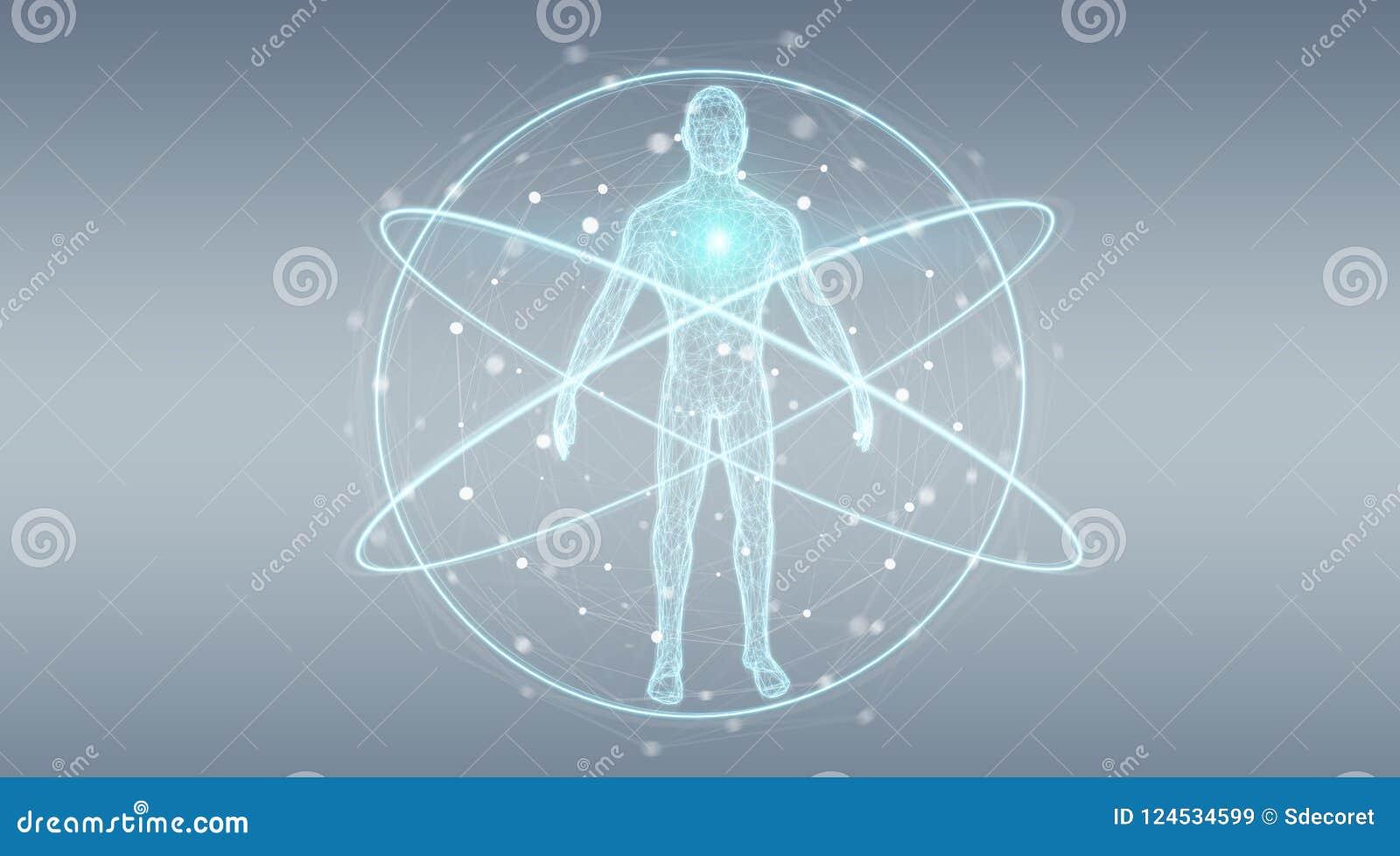 Representación del interfaz 3D del fondo de la exploración del cuerpo humano de la radiografía de Digitaces