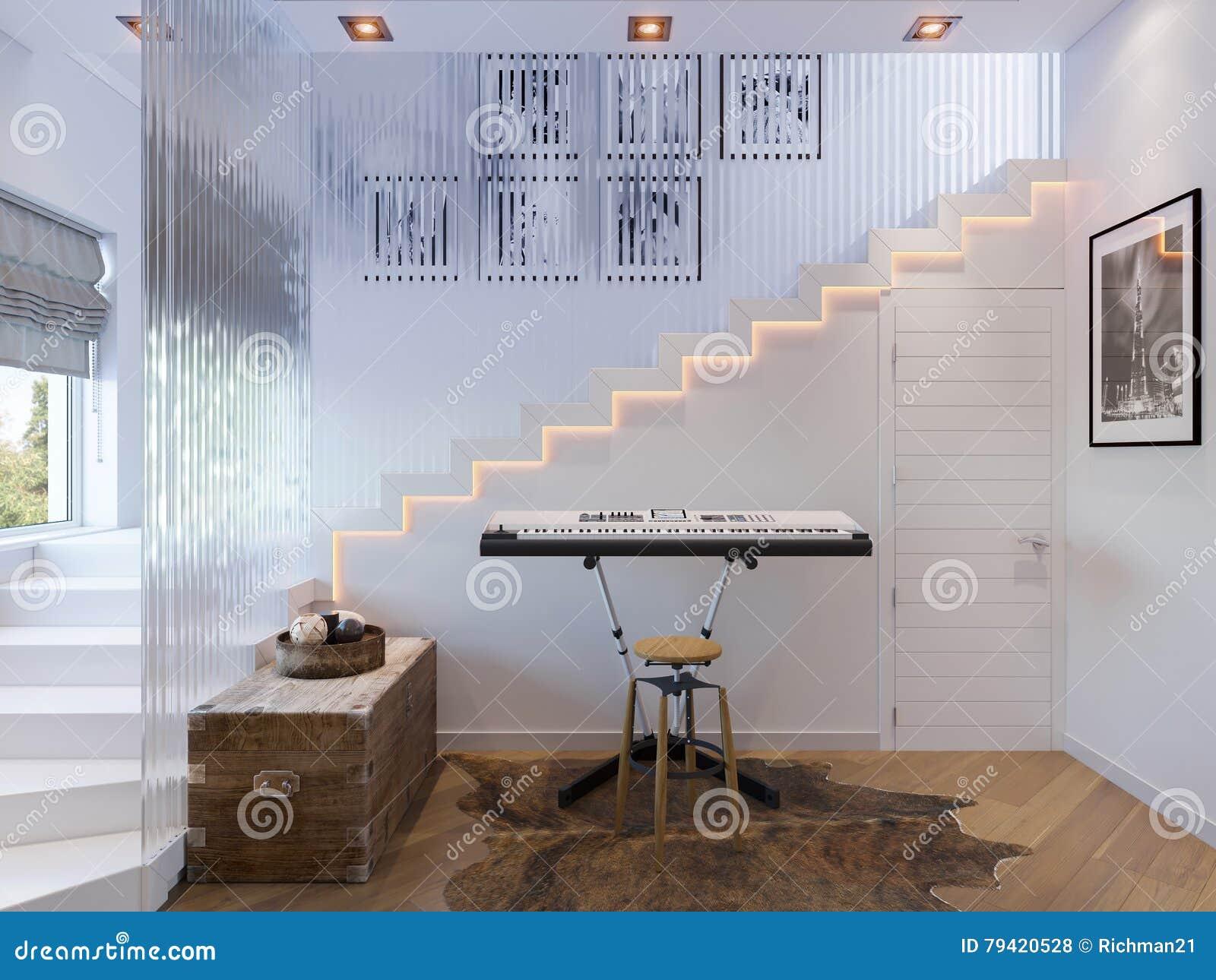 del pasillo de la escalera del diseo interior