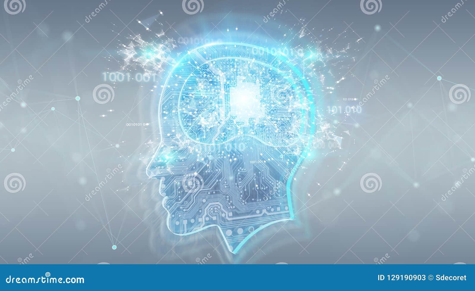 Representación digital del fondo 3D del cerebro de la inteligencia artificial