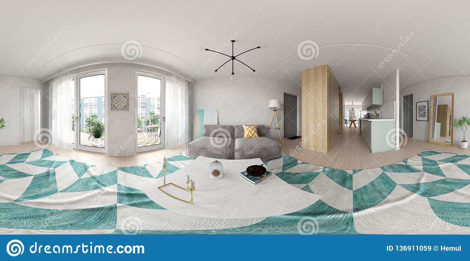 Representación escandinava del diseño interior 3D del estilo 360 de la proyección esférica del panorama