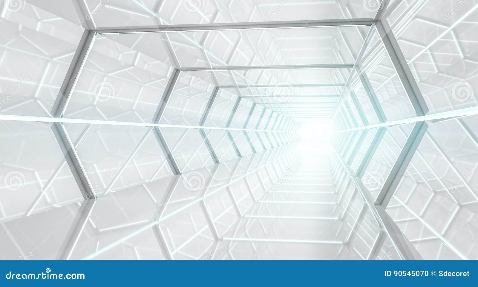 Representación futurista brillante del pasillo 3D de la nave espacial