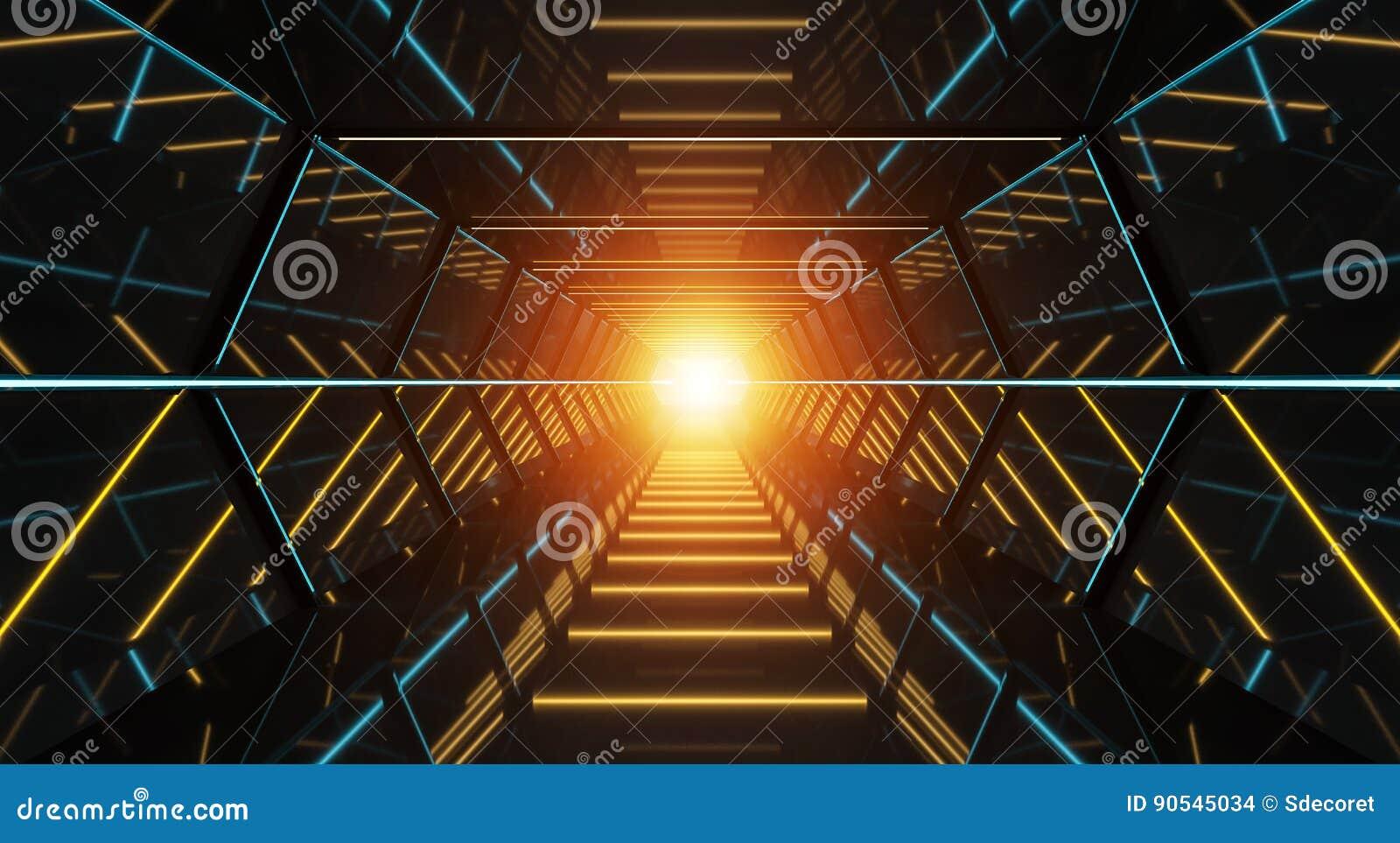Representación futurista oscura del pasillo 3D de la nave espacial