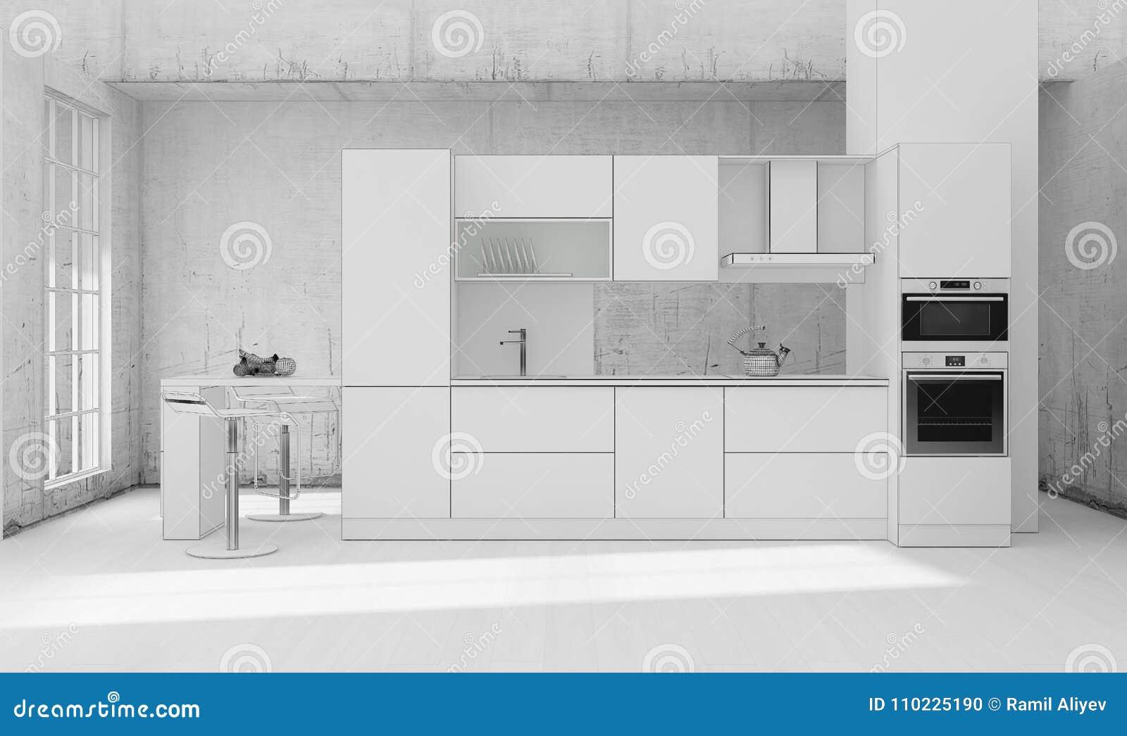 Representaci N Interior De La Rejilla 3d De La Cocina Stock De  # Muebles Rejilla