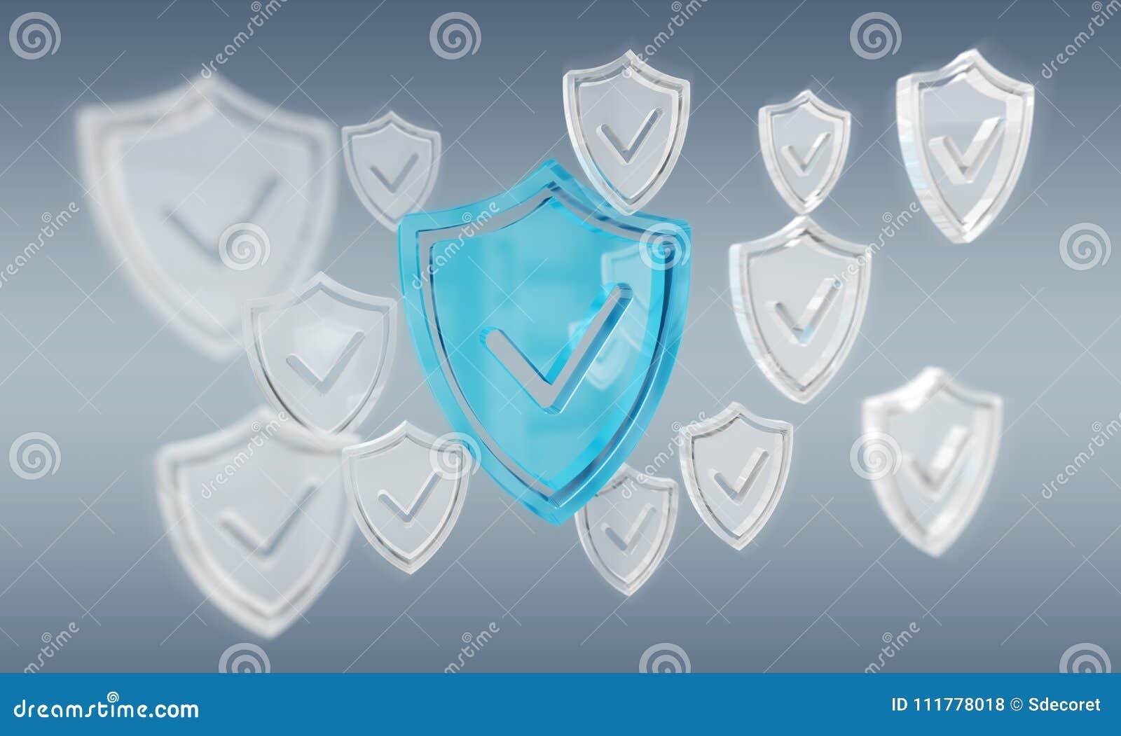 Representación moderna del antivirus 3D del escudo de los datos digitales