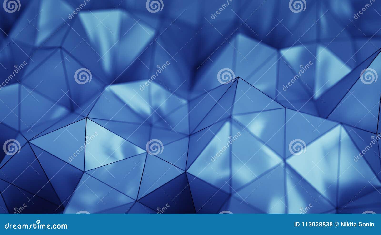 Representación plástica azul poligonal de la forma 3D con el DOF