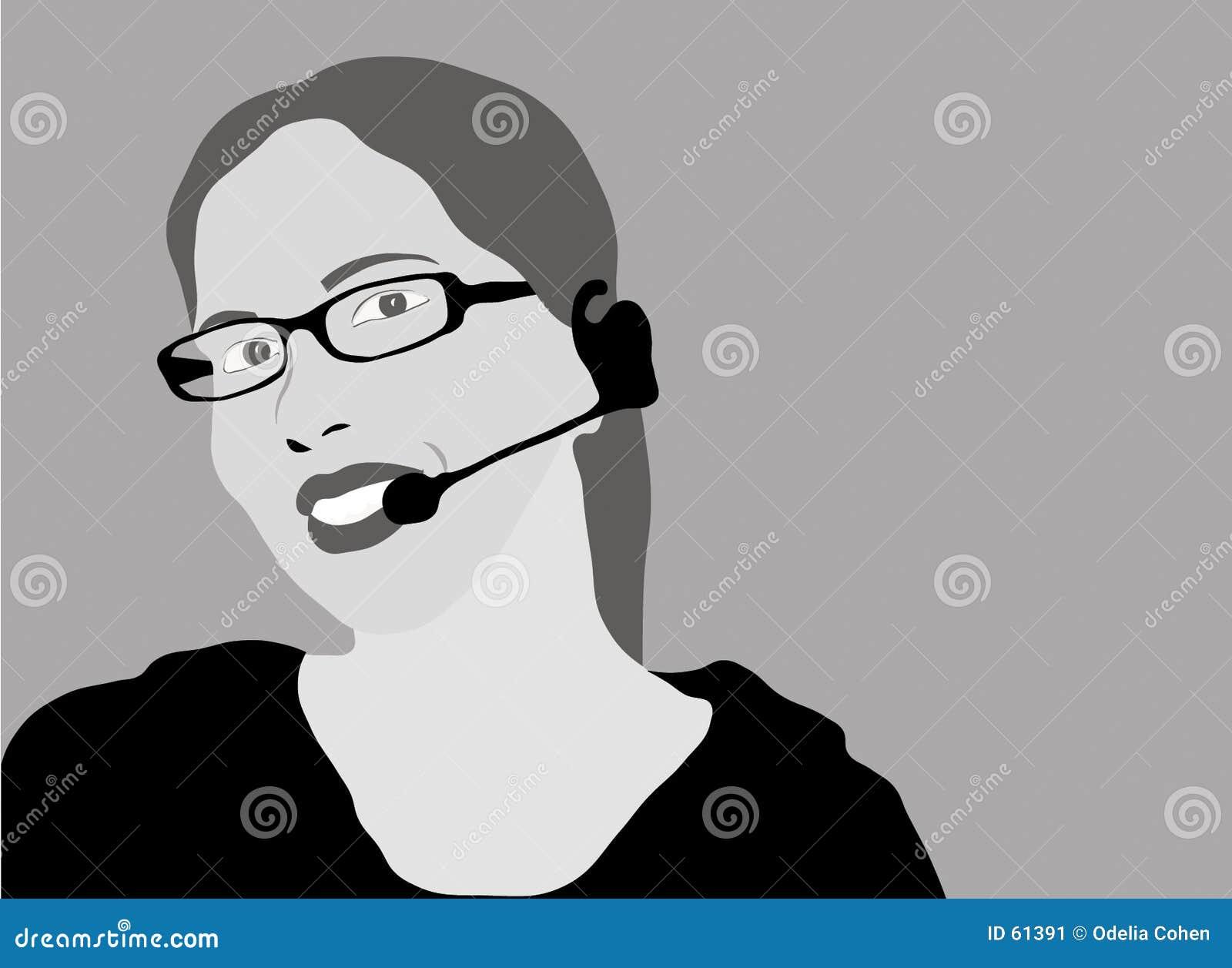 Representante del servicio de atención al cliente - grayscale