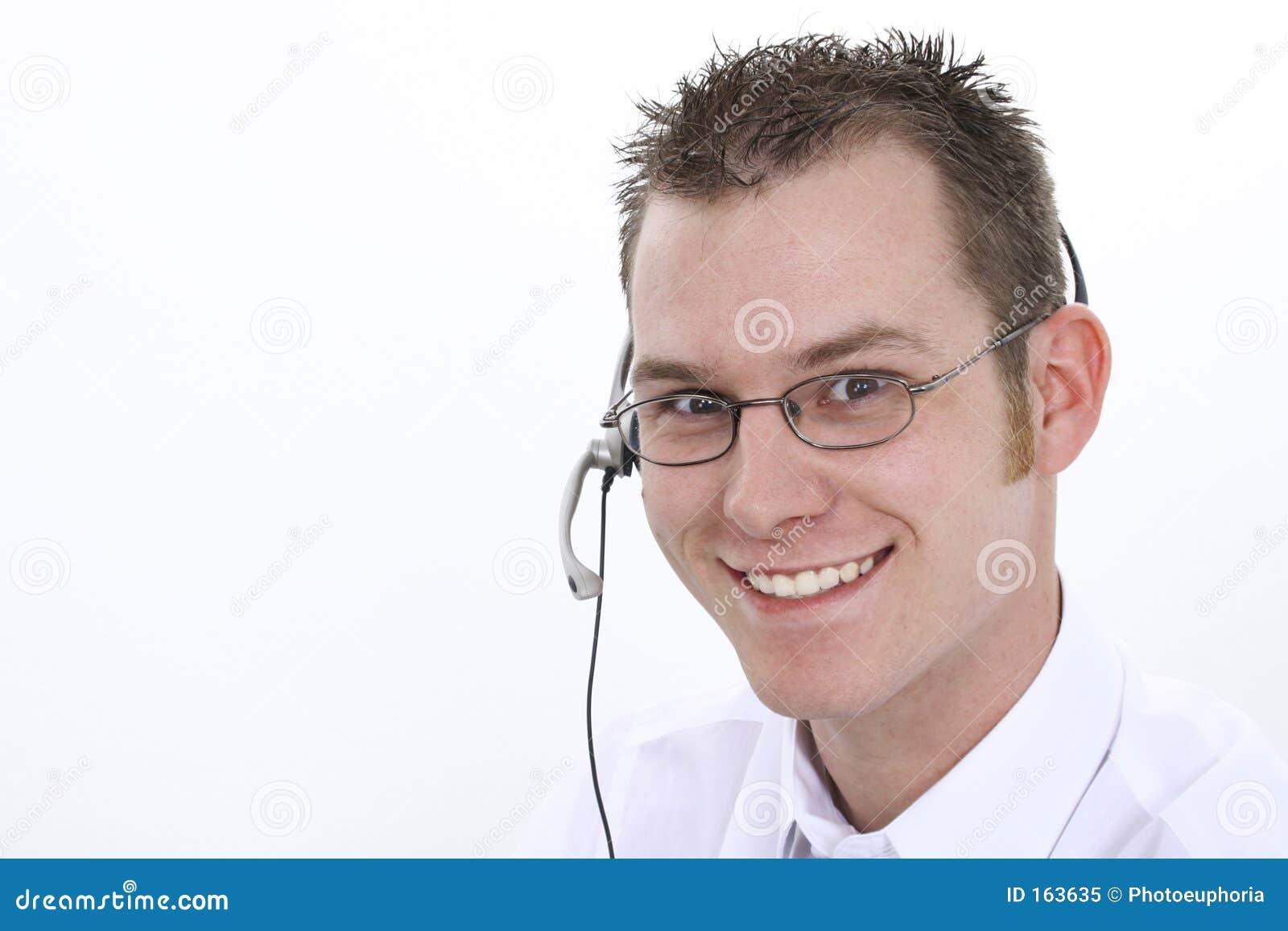 Representante do serviço de atenção a o cliente com sorriso