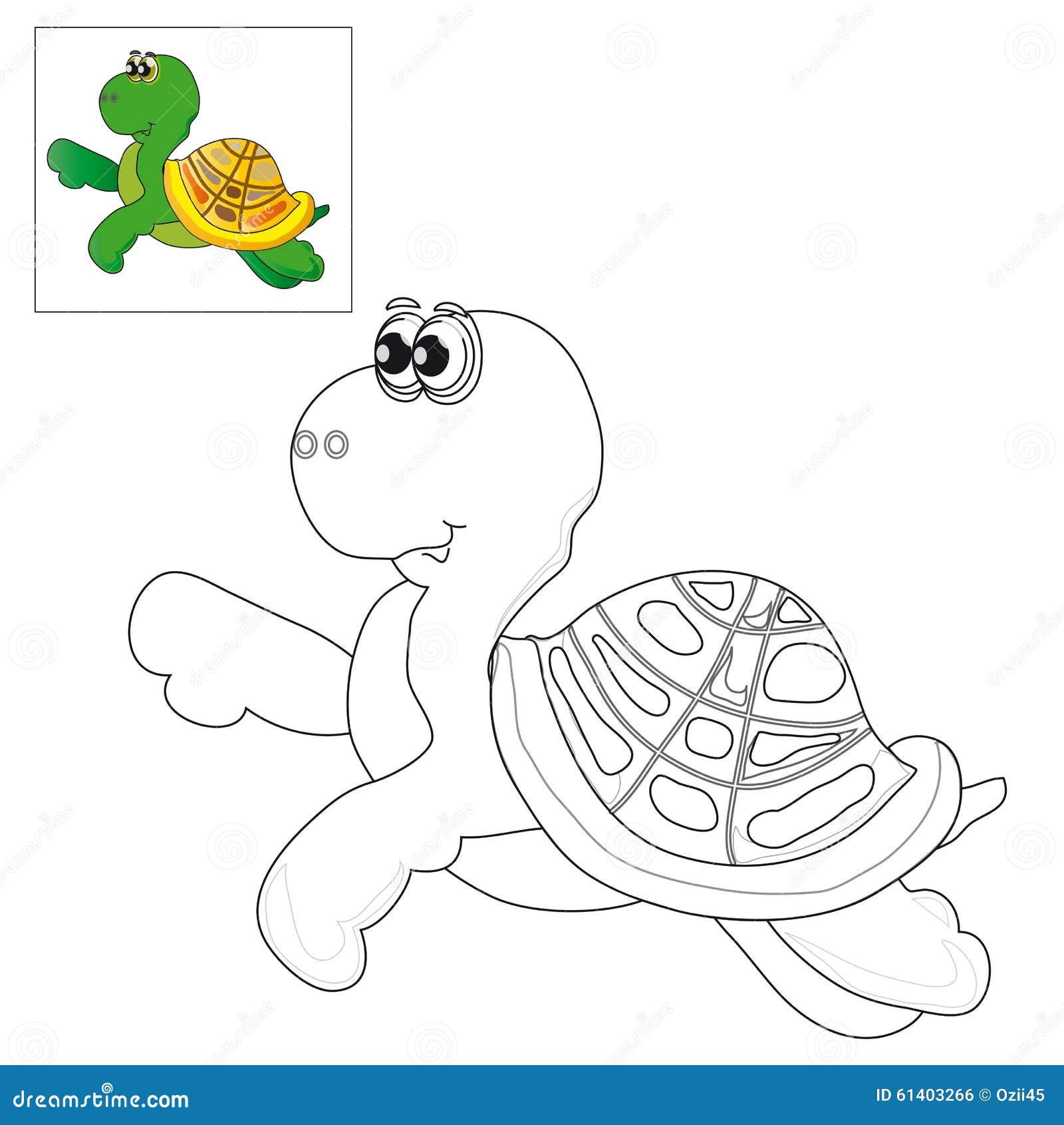 Represente Para Colorear Una Tortuga Ilustración Del Vector