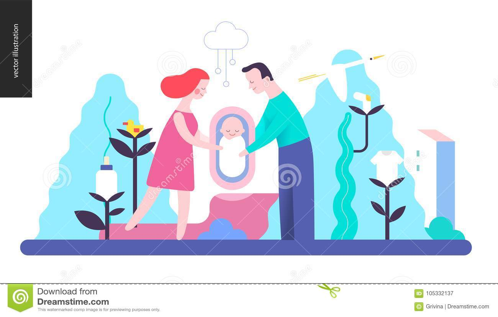 Reproduktion - en familj med en behandla som ett barn