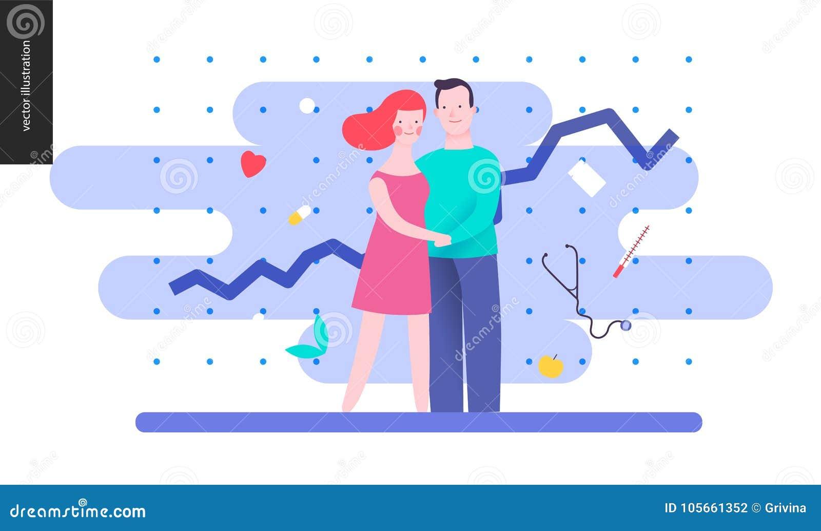 Reproduktion - ett par som planerar en behandla som ett barn