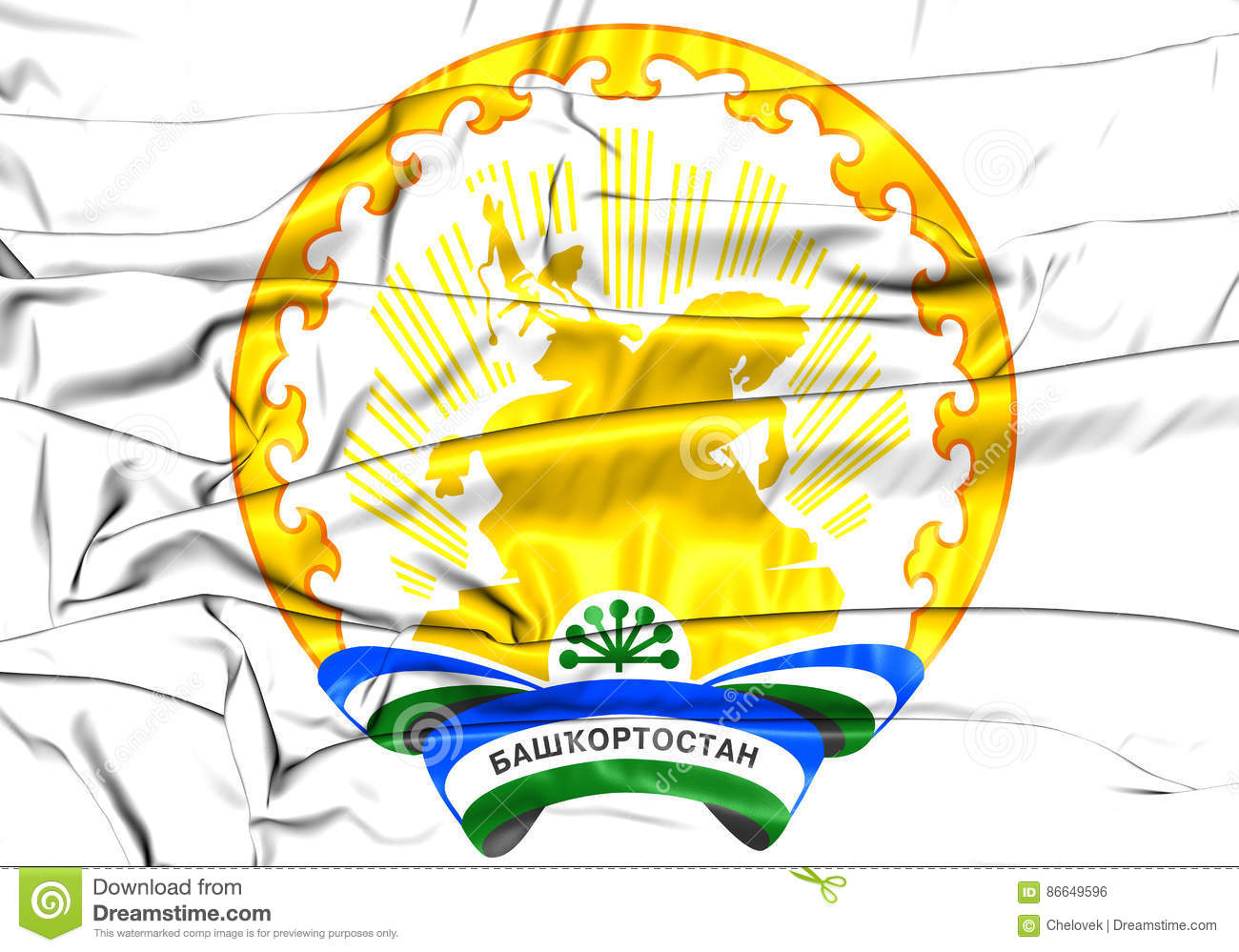 Flag and coat of arms of the Republic of Bashkortostan